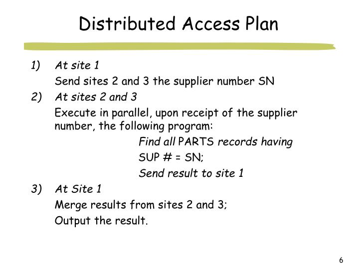 Distributed Access Plan