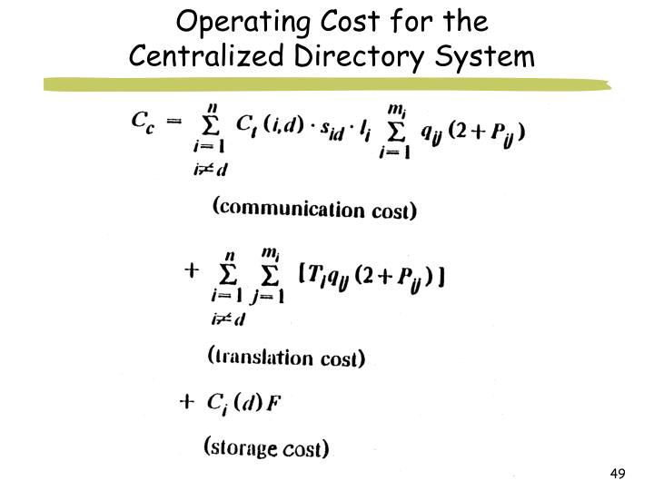 Operating Cost for the Centralized Directory System