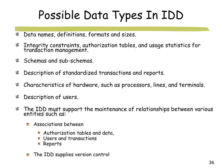 Possible Data Types In IDD