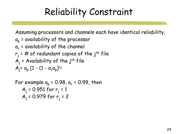 Reliability Constraint