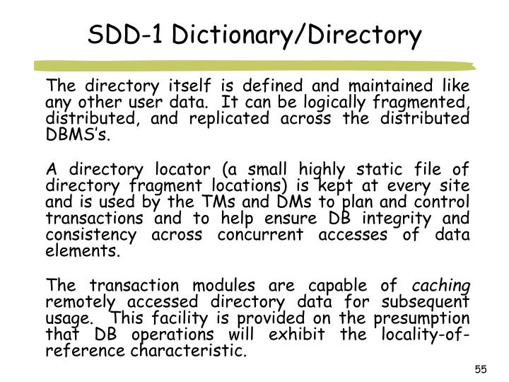 SDD-1 Dictionary/Directory