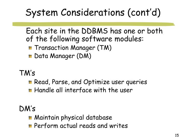 System Considerations (cont'd)