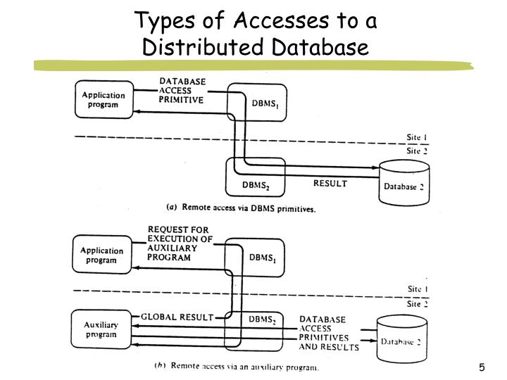 Types of Accesses to a Distributed Database