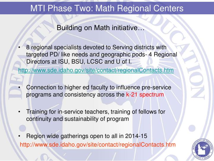 Building on Math initiative…