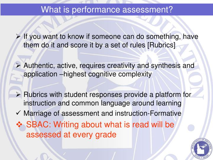 What is performance assessment?