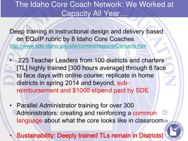 Deep training in instructional design and delivery based on EQuIP rubric by 8 Idaho Core Coaches