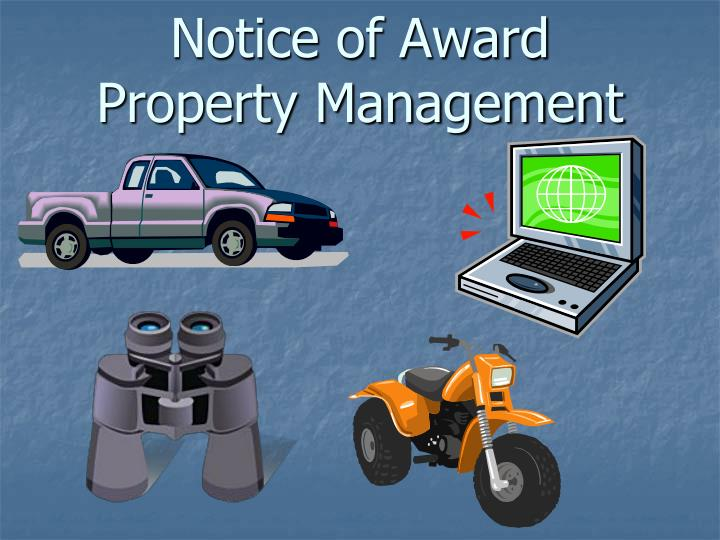 Notice of award property management