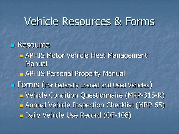 Vehicle Resources & Forms