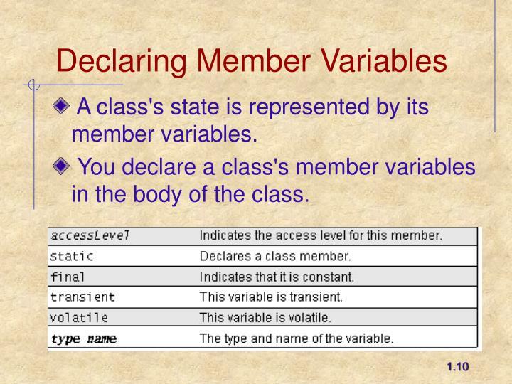Declaring Member Variables