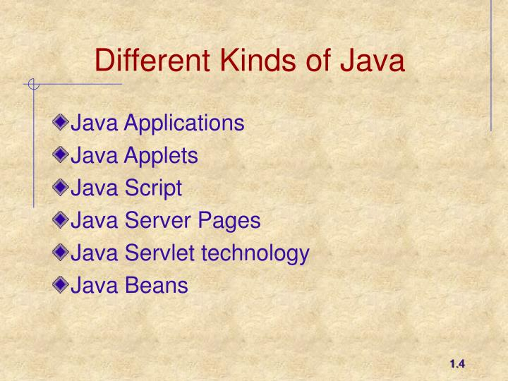 Different Kinds of Java