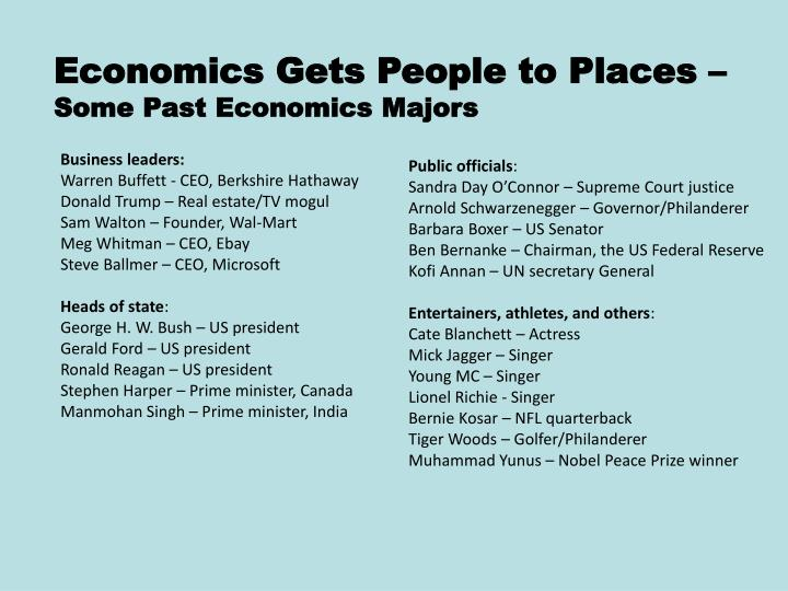 Economics Gets People to Places –