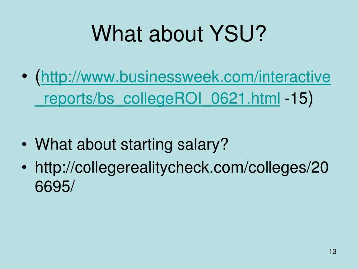 What about YSU?