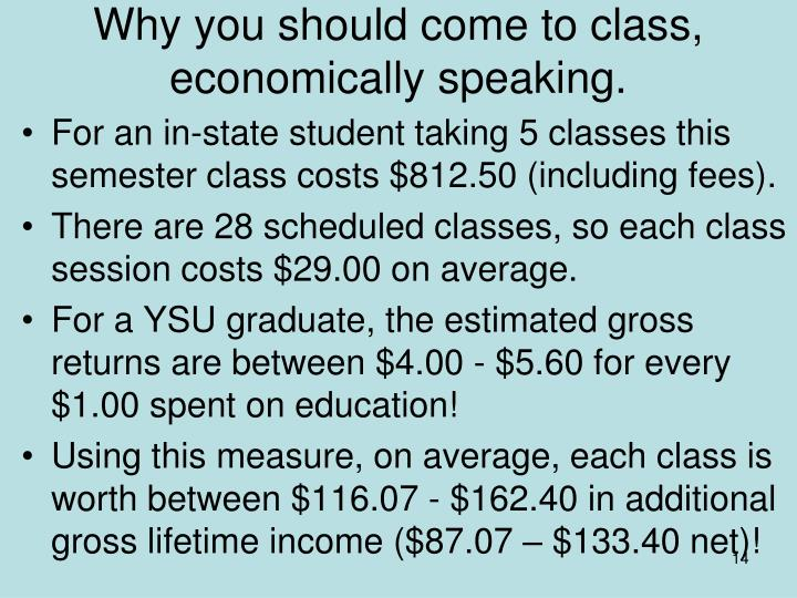 Why you should come to class, economically speaking.