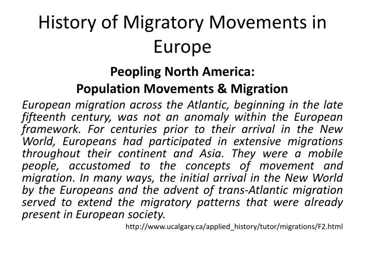 History of migratory movements in europe