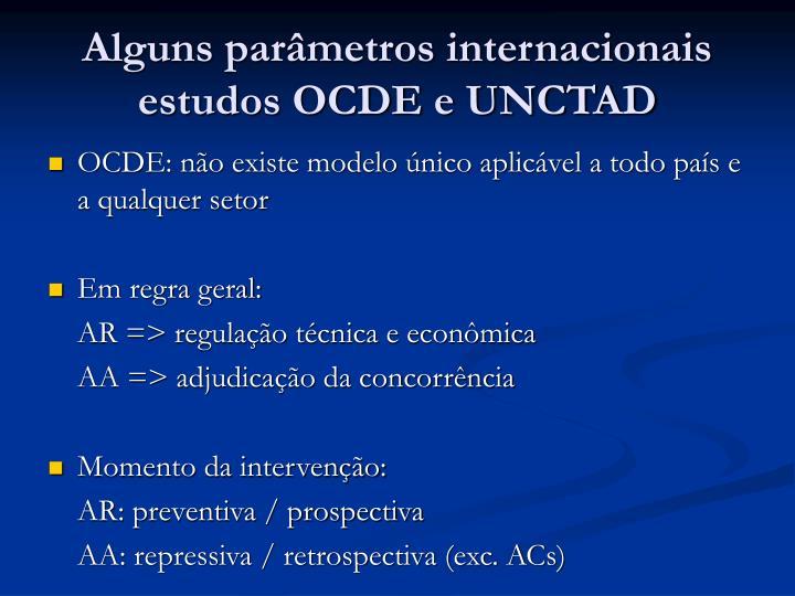 Alguns parâmetros internacionais