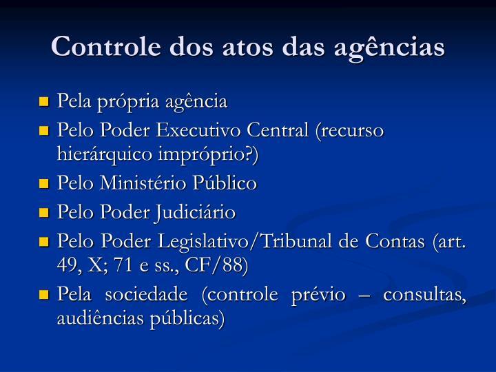 Controle dos atos das agências