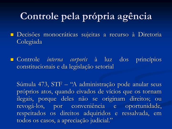 Controle pela própria agência