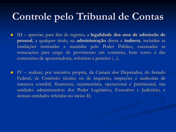 Controle pelo Tribunal de Contas