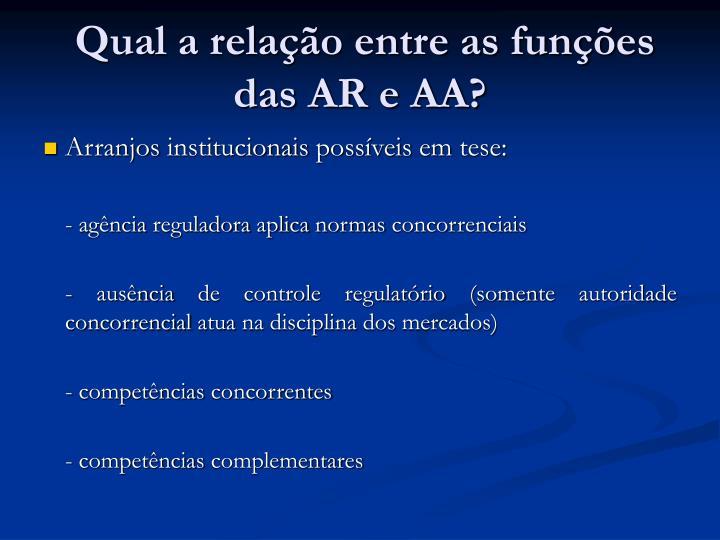 Qual a relação entre as funções das AR e AA?