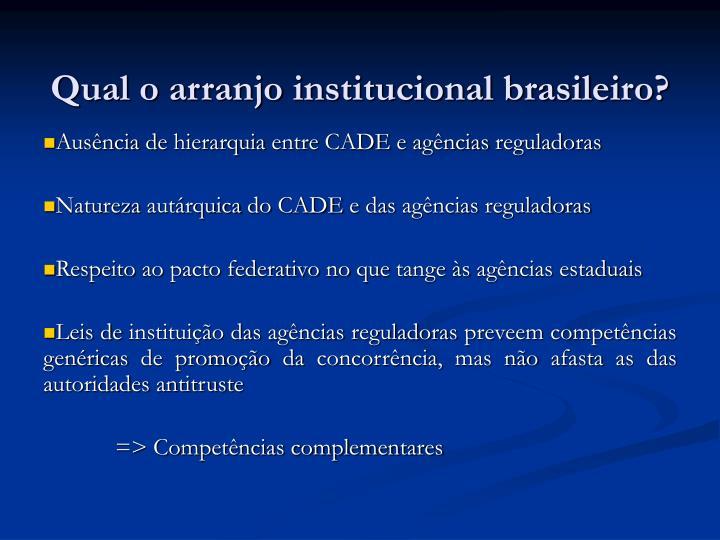Qual o arranjo institucional brasileiro?