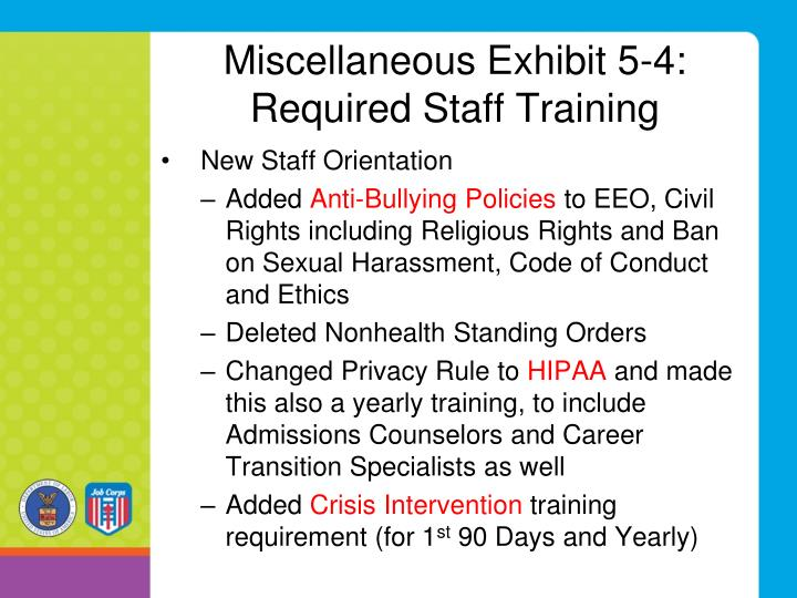 Miscellaneous Exhibit 5-4: Required Staff Training