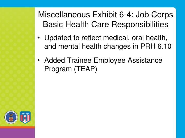 Miscellaneous Exhibit 6-4: Job Corps Basic Health Care Responsibilities