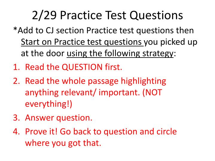 2/29 Practice Test Questions
