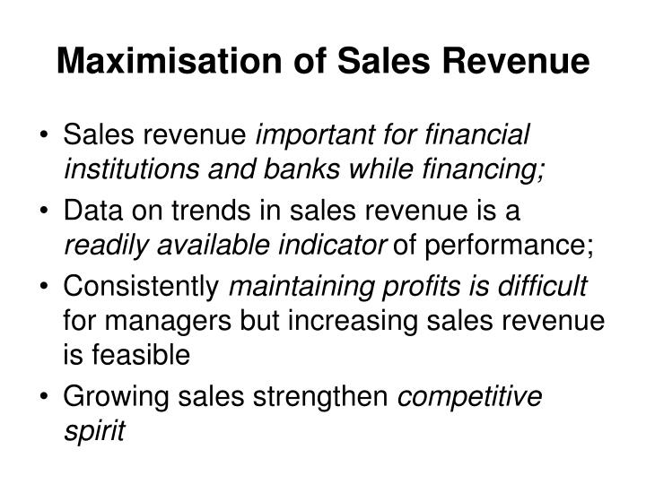 Maximisation of Sales Revenue