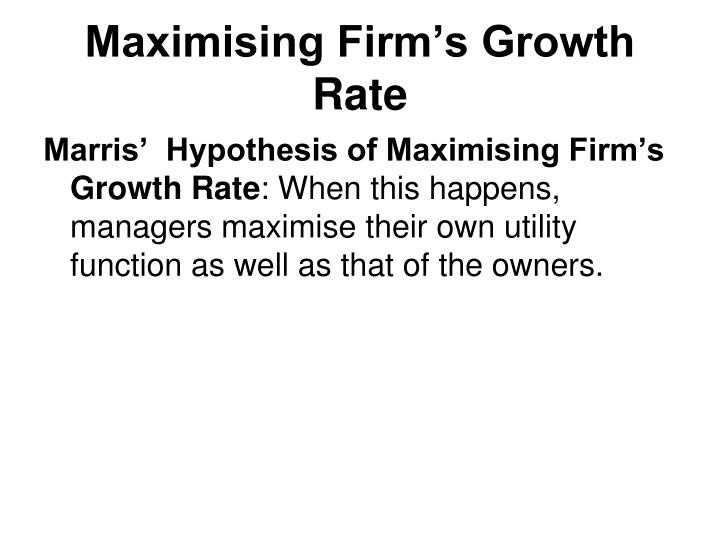 Maximising Firm's Growth Rate