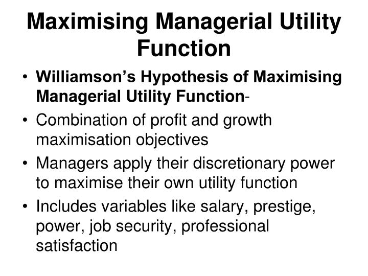 Maximising Managerial Utility Function