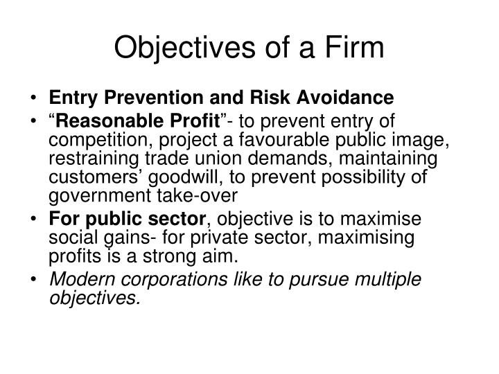 Objectives of a Firm
