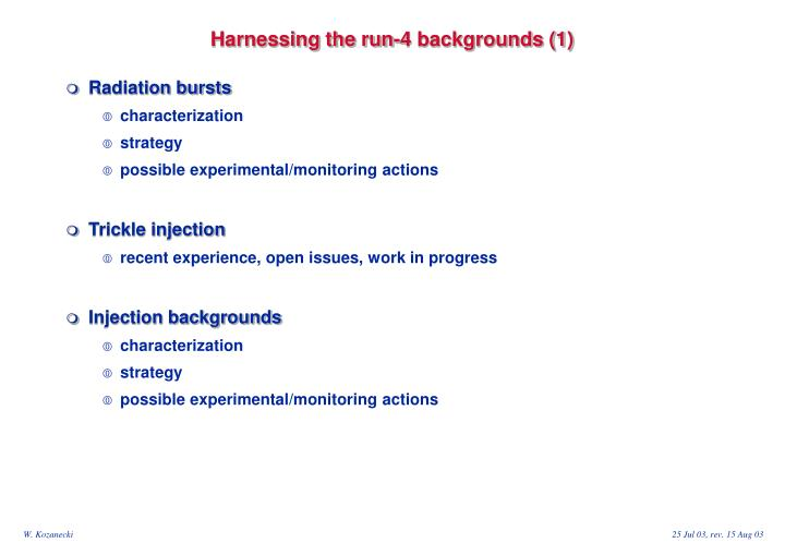 Harnessing the run-4 backgrounds (1)