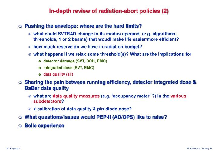 In-depth review of radiation-abort policies (2)