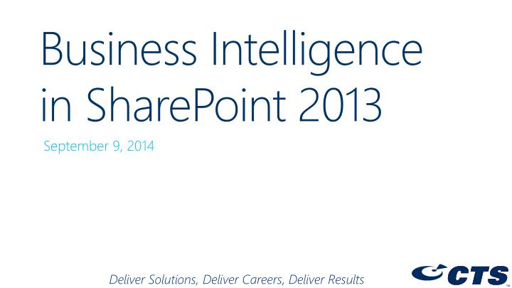 Business Intelligence in SharePoint 2013