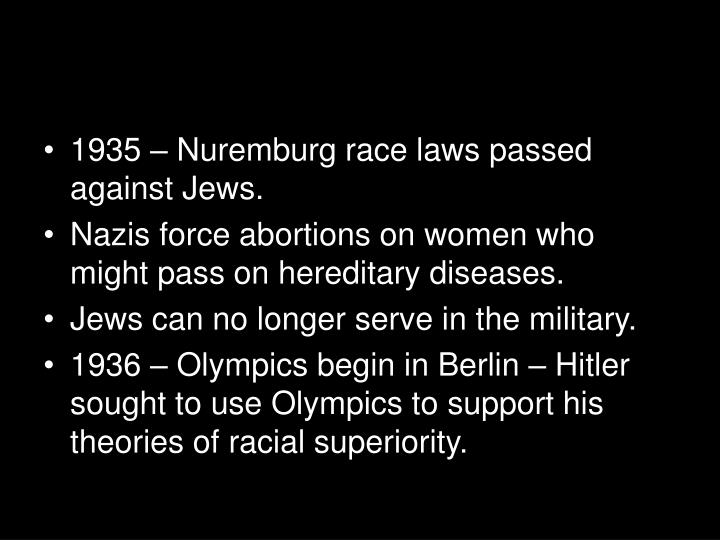 1935 – Nuremburg race laws passed against Jews.