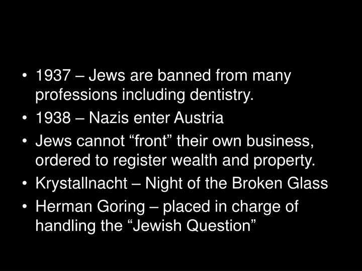1937 – Jews are banned from many professions including dentistry.