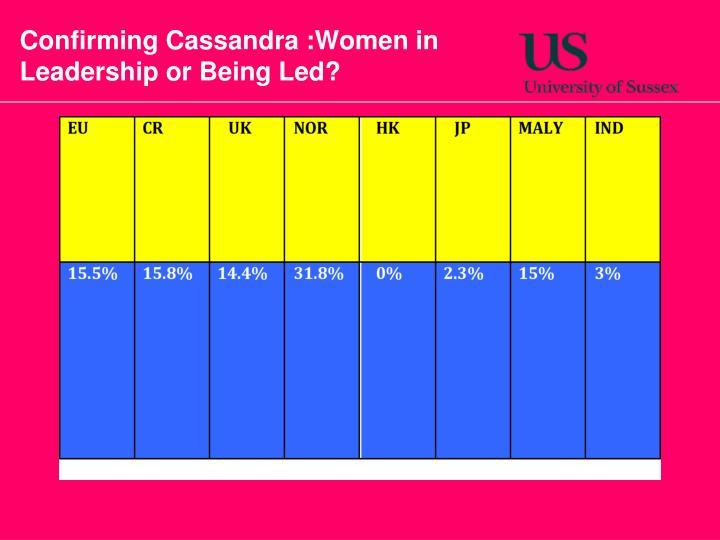 Confirming Cassandra :Women in