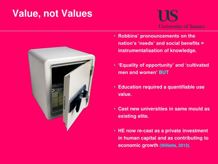 Value, not Values
