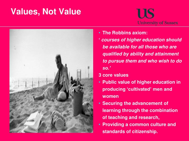 Values, Not Value