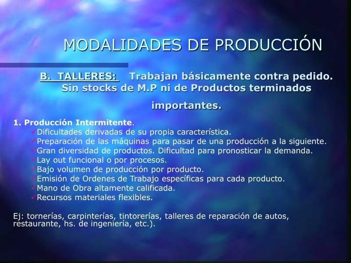 MODALIDADES DE PRODUCCIÓN