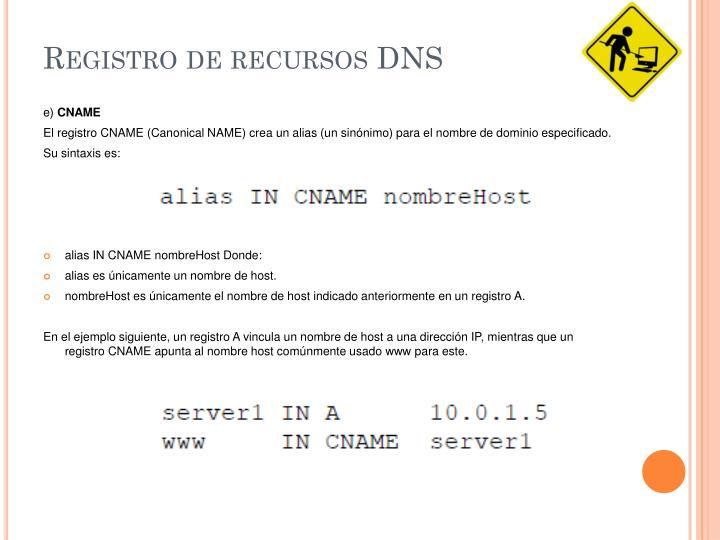 Registro de recursos DNS