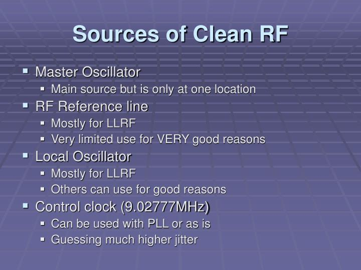 Sources of Clean RF