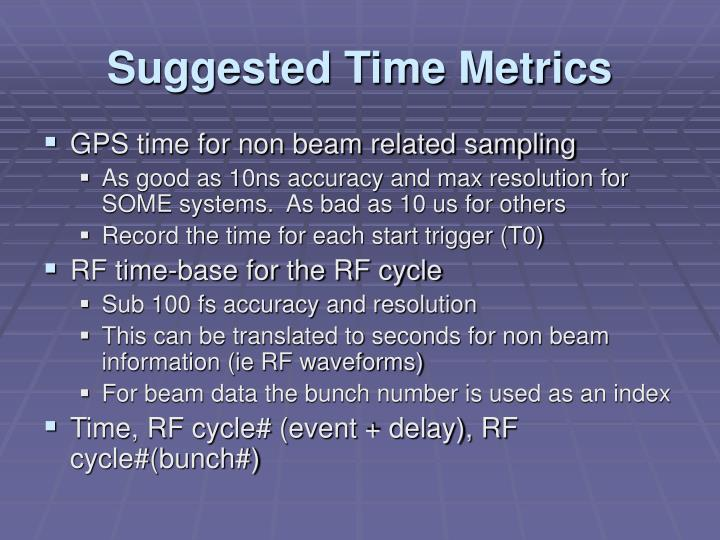 Suggested time metrics
