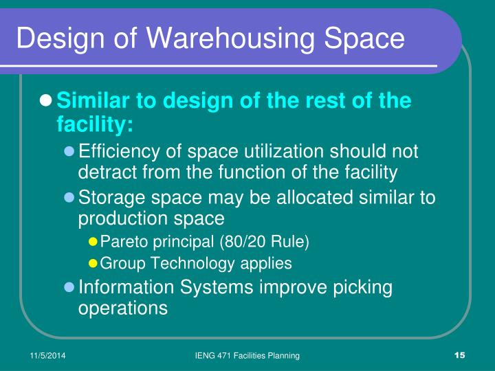 Design of Warehousing Space