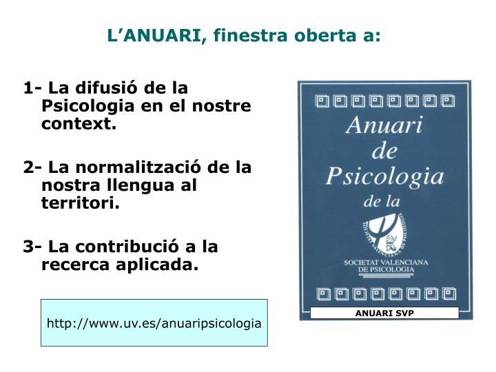 1- La difusió de la Psicologia en el nostre context.