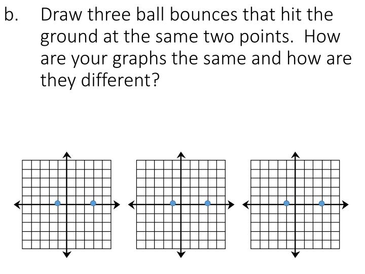 b. 	Draw three ball bounces that hit the 	ground at the same two points.  How 	are your graphs the same and how are 	they different?
