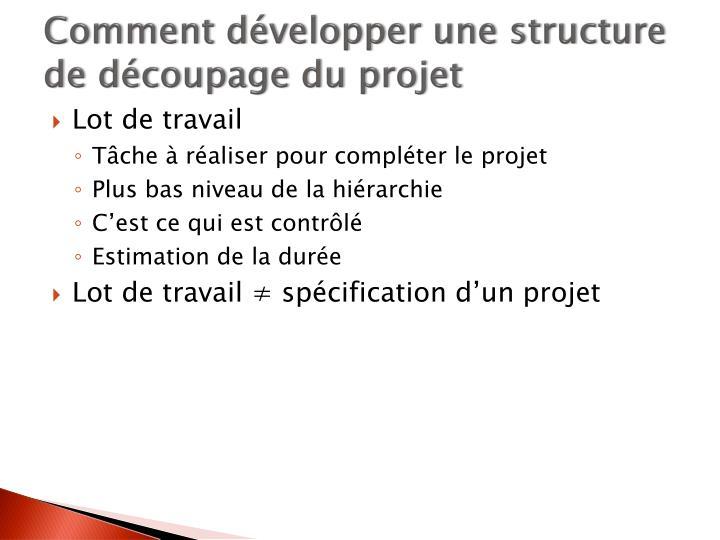 Comment développer une structure de découpage du projet
