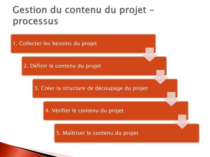 Gestion du contenu du projet - processus