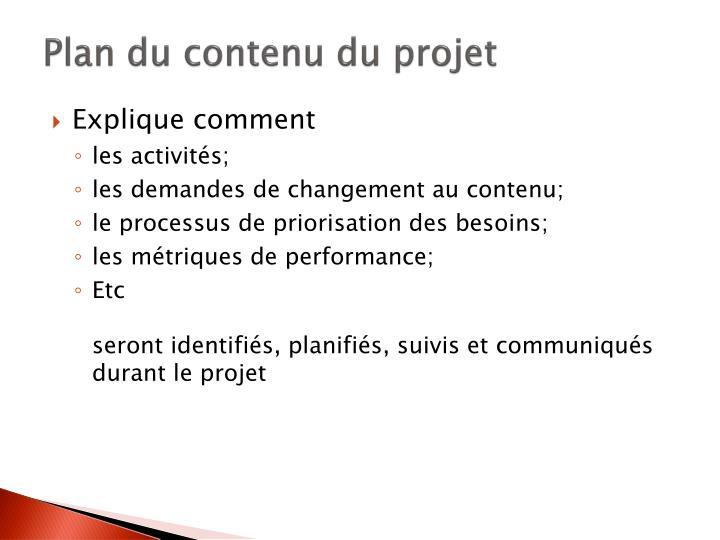 Plan du contenu du projet