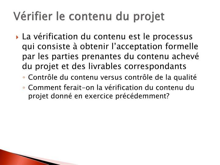 Vérifier le contenu du projet